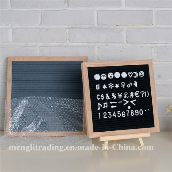 China Letter Board 10X10 Inch Oak Frame Black Felt Letter Board ...