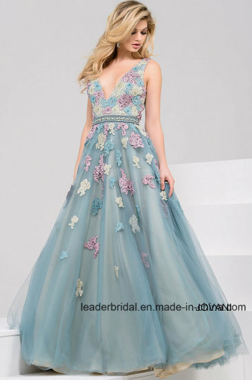 China V Neck Lace Tulle Prom Gowns Colorful Floral Evening Formal