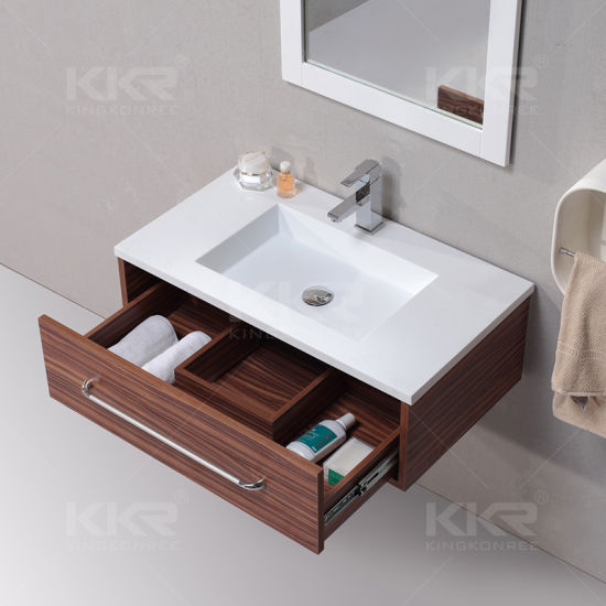 China 2018 Corian Solid Surface Artificial Bathroom Cabinet Sink
