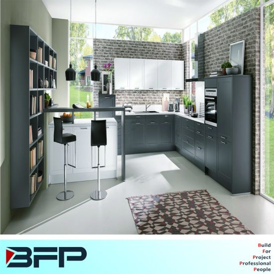 Simple Form Style Kitchen Furniture Grey Mixed White Color Wood Cabinets Blk 46