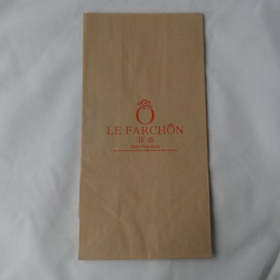 Custom Made Bake Food Brown Kraft Paper Bag Flat Bottom Bag
