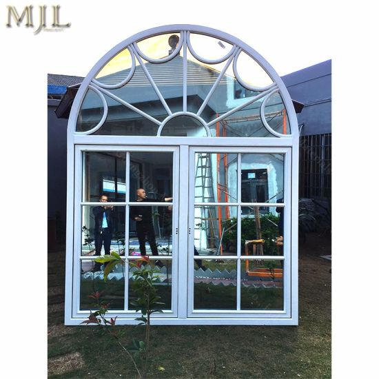 Grill Aluminium Wood Casement Glass Window with Double Insulated Glazing