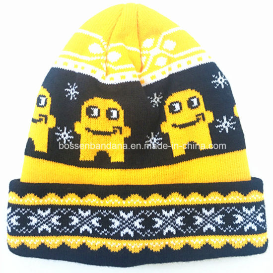 Factory OEM Customized Design Jacquard Knitted Acrylic Winter Beanie Cap pictures & photos
