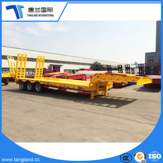 3 Axles Excavator/Loader/Bulldozer/Paving Machine Low Plate/Low Bed Semi Trailer pictures & photos
