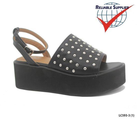 Fashion Women's High Platform Footwear Studs Wedge Sandals Heels Shoes