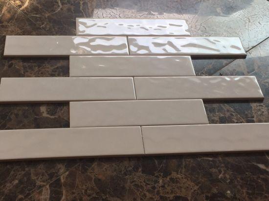 Beige 3x12inch 7 5x30cm Wavy Kitchen Tile Glossy Glazed Bathroom Ceramic
