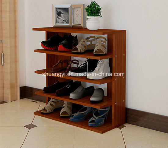 Suitable for Holding 8 Pair Shoes 4 Tier Wooden Shoe Rack pictures & photos