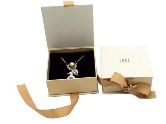 Luxury Cardboard Flip Open Jewelry Box With Ribbon Jewelry Boxes Custom Logo Printing
