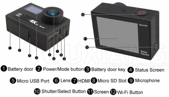 China 4k Ultra HD Waterproof WiFi Extreme Sports Action Camera with