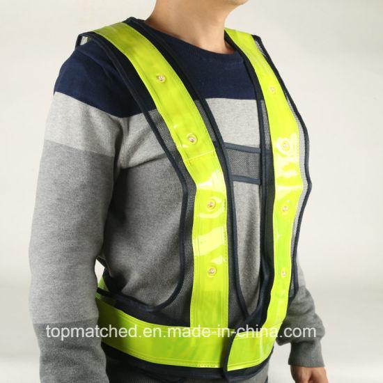 Blue Mesh LED Reflective Safety Vest