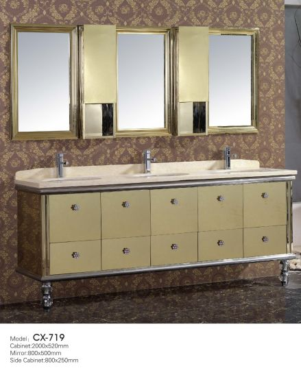 Golden Stainless Steel Bathroom Vanity Cabinet With Three Basins For Hotel  Use