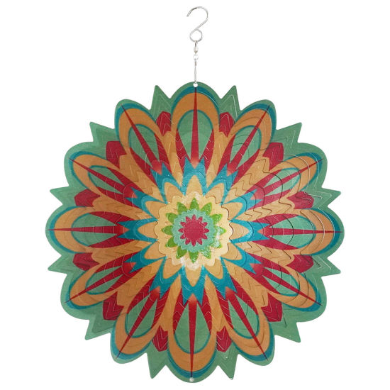Amazon Hotsell 12 Inch 3D Metal Color Pattern Garden Decor Hanging Whirligigs Mandela Wind Spinner