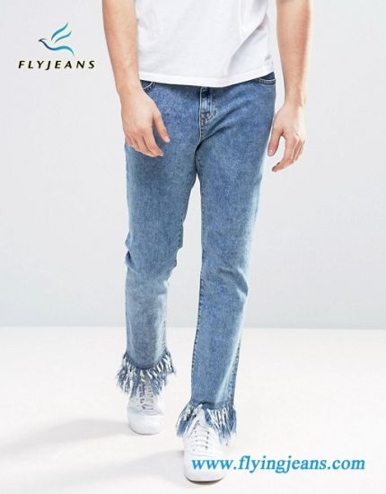 China Men Denim Jeans With Frayed Hem Snow Washed China Boy Denim Pants And Jeans Trousers Price