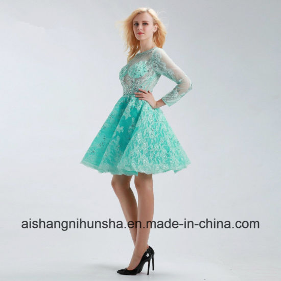 China Scoop Neck Crystal Beaded Lace Applique Elegant Short Prom ...