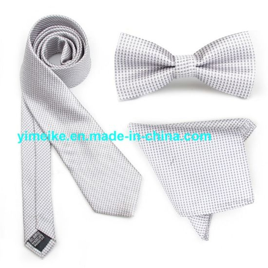 Latest Jacquard Small Plaid Neck Tie Bow Tie Hanky Tie Set for Men pictures & photos