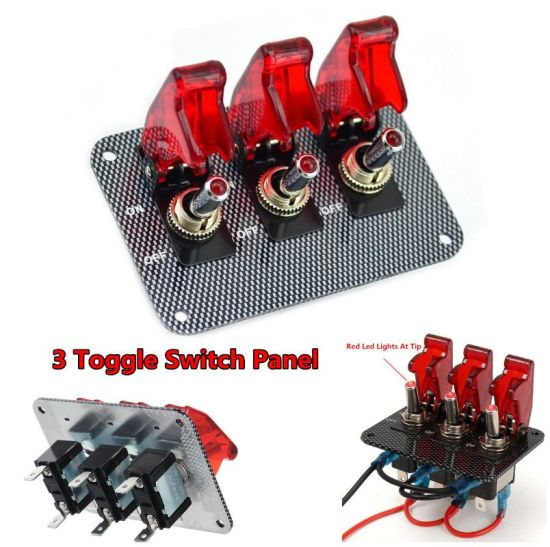 RED w//  carbon fiber panel LED toggle switches