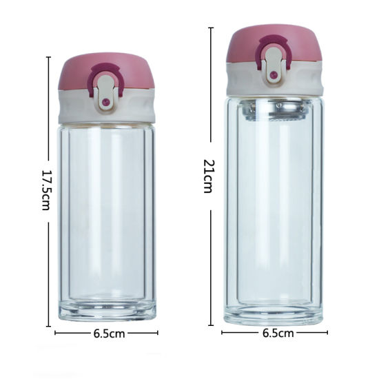 Reusable Large Double Wall Glass Drinking Tea Bottle with Infuser Bounce Lid Glass Water Bottle