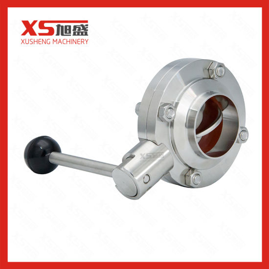 Hygienic Stainless Steel Ss304 Welding 4 Stops Butterfly Valves pictures & photos