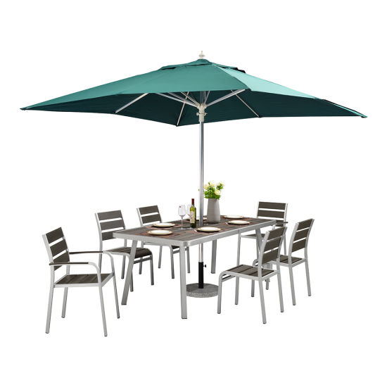 China Aluminium Dining Furniture 7 Piece Patio Table And Chairs With Umbrella China Patio Furniture Outdoor Patio Furniture