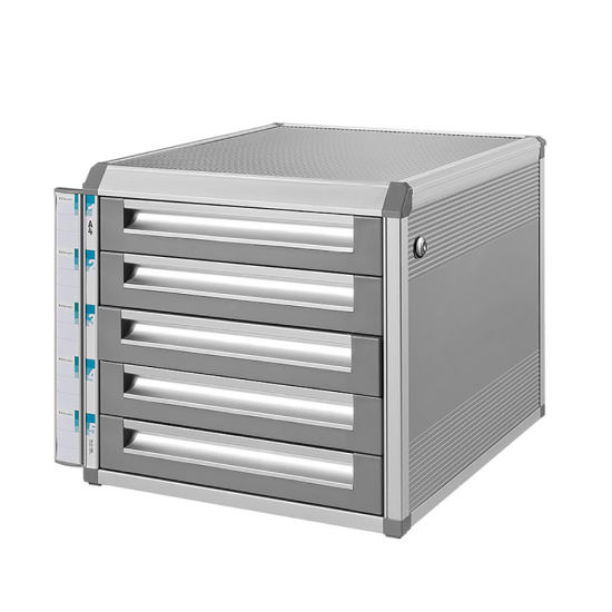 Metal 5 Drawers Locking File Cabinet With Notice Bar