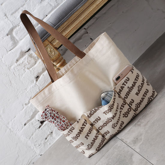 f616735ea New Style Canvas Tote Bag with Extra Front Pockets Available for Custom  pictures & photos