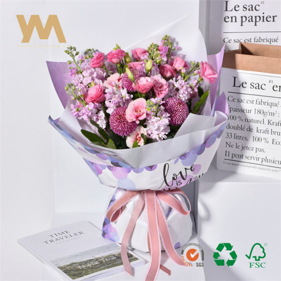Double Sides Printed Valentine Day Gifts Bouquet Florist Wrapping Paper