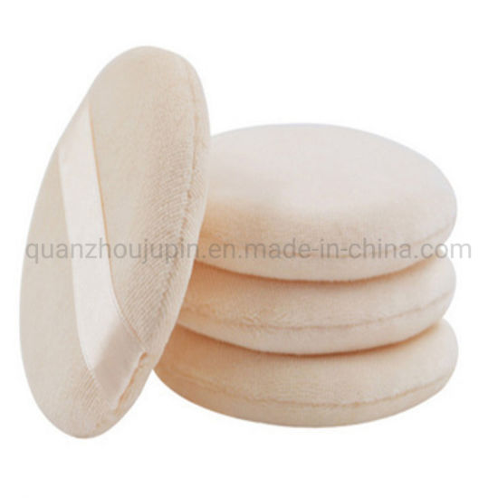 OEM Cotton Round Calm Makeup Puff with Silk Ribbon pictures & photos