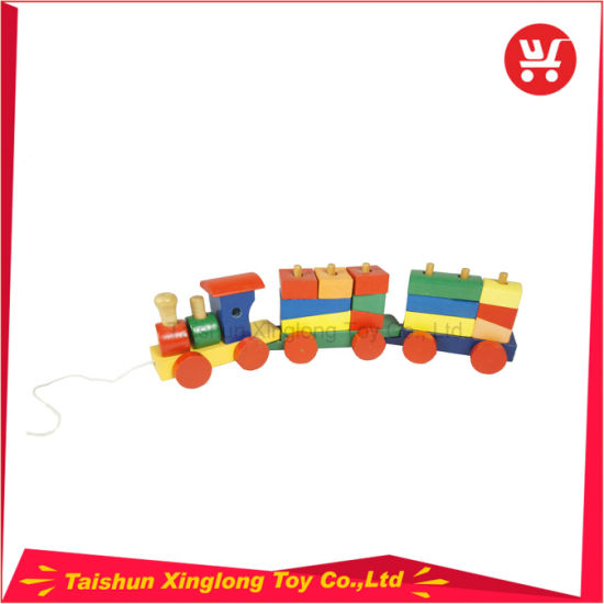Multi-Functional Wooden Train with Colorful Wooden Blocks pictures & photos
