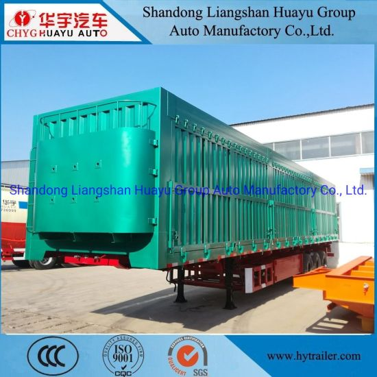 Three Axle Heavy Duty 100 Ton Box/Van Type Dump/Tipper/Tipping Semi Trailer for Construction Waste/Sand /Mineral/Stone/Coal Transport