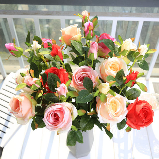Rose Touch Silk Artificial Flowers for Wedding Decoration for Gift pictures & photos