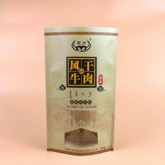 Custom Stand up Kraft Paper Bag Packing for Beef Jerky with Window