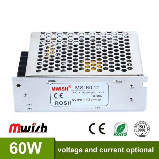 60W 12V 5A Single Output Switching Power Supply Driver Transformers 220V 110V AC to Dcsmps for CNC Machine DIY LED CCTV