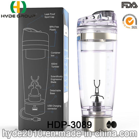 2019 Newly 600ml Electric USB Back Charge Vortex Plastic Shaker Water  Bottle (HDP-3089)