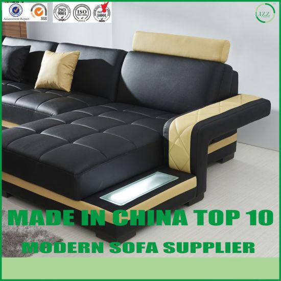 Light Yellow Leather Large Sofa Set