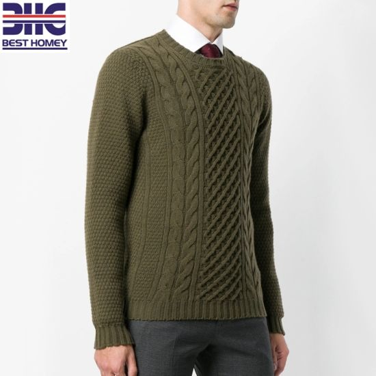 889358392 China Men′s Pure Lambswool Cable Knit Design Crew Neck Long Sleeves ...