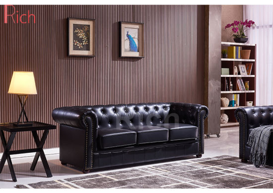 Popular Modern Classic Design Old Style Vintage Leather Chesterfield Sectional Sofa pictures & photos