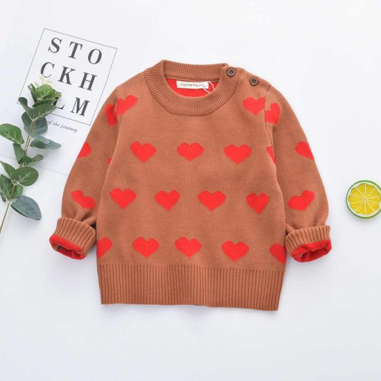 Wholesale Parent-Child Sweater Baby Girls and Boys Knitted Cotton Heart Sweater Children Crew Neck Pullover Kids Sweater