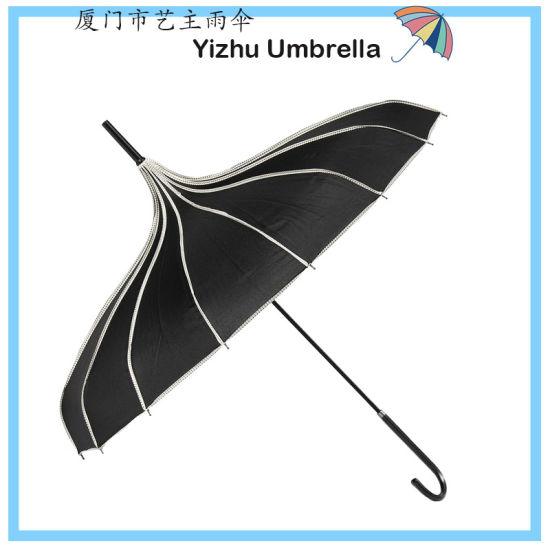 Pagoda Umbrella Parasol Umbrella Sun Umbrella UV Protection Umbrella Retro with Hook Handle Black Umbrella (YZ-20-47)