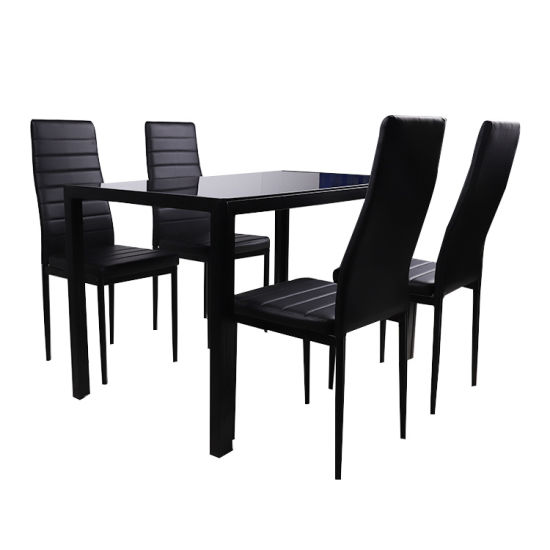 Factory Wholesale Promotional Iron Leg Contemporary Black Glossy Glass Top Simple Style Kitchen Room Restaurant Furniture Dining Table