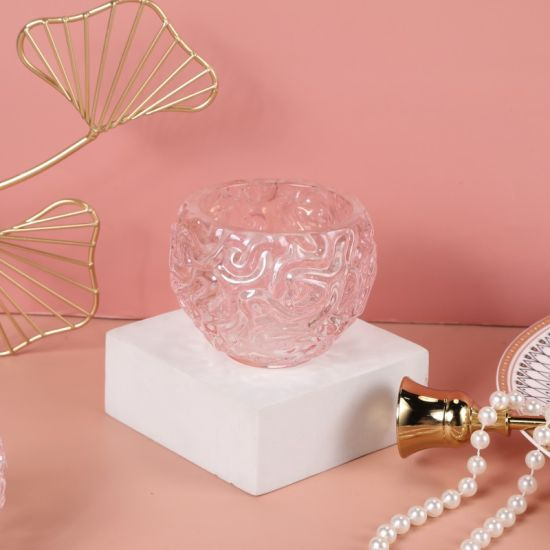 European Style Globular Beaded Crystal Candle Cup Pink Romantic Dinner Candlestick Flower Hollow-out Decoration Home Furnishings