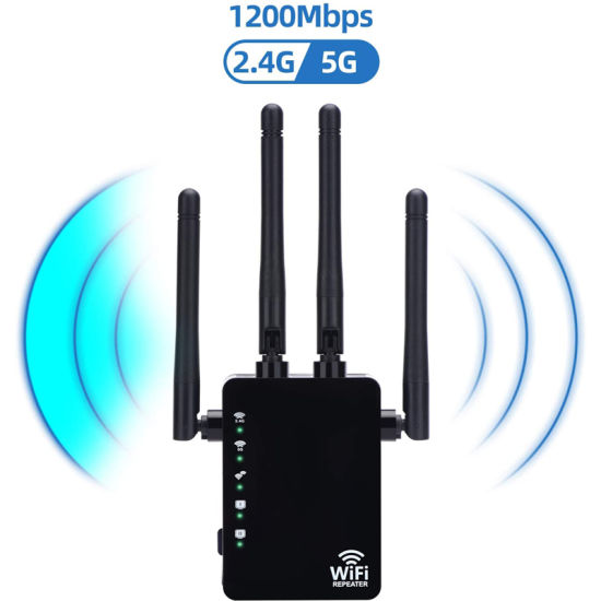 WiFi Range Extender 1200Mbps Dual Band WiFi Repeater 2.4/5GHz Internet Wi-Fi Signal Booster