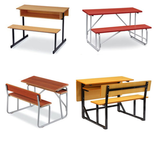 China Furniture Manufacturer Supply School Double Desk with Chair