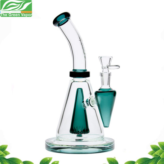 10inch Green Cone Perc Bowl Smoking Pipe Glass Hookah