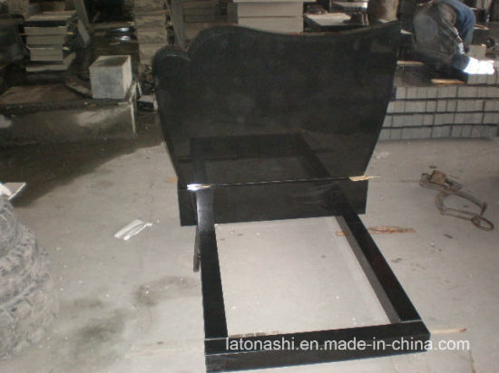 Absolute Black Granite Tombstone with Kerbs and Cover in European Style pictures & photos