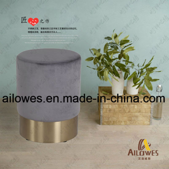 Metal Gold Stainless Steel Base Grey PU Seat Round Shape Mcdonald's Foot Bar Chair Stool