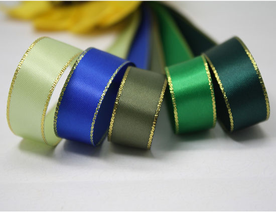 Satin Gold Edge Double Face Polyester Satin Ribbon for Wedding Decoration