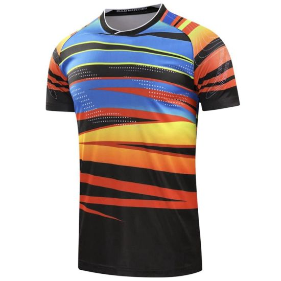 9e067432d Heat Transfer Printing 100% Polyester Mesh Dye Sublimation Badminton T Shirt