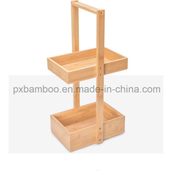 Portable Bamboo Bathroom Storage Shelf and Multifunction Bamboo Corner Display Rack with Wheels