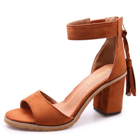 0393a1b0347c China Women Gladiator Sandals Block Heel Buckle Strap Dress Date ...