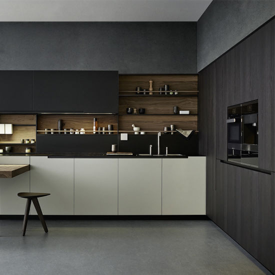 Affordable Modern MDF/HDF Kitchen Designs Free Standing Pantry Black Kitchen Cabinets & China Affordable Modern MDF/HDF Kitchen Designs Free Standing Pantry ...